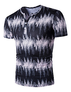 Bomull Medium Kortermet,V-hals T-skjorte Trykt mønster Alle sesonger Enkel Gatemote Aktiv Ut på byen Fritid/hverdag Plusstørrelser Herre