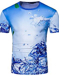 メンズ カジュアル/普段着 Tシャツ,ストリートファッション ラウンドネック 幾何学模様 モーダル ポリエステル 半袖