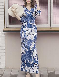 Kadın Dışarı Çıkma Günlük/Sade Seksi Boho Kılıf Elbise Desen,½ Kol Uzunluğu V Yaka Maksi Pamuklu Bahar Yaz Normal Bel Esnemez Orta