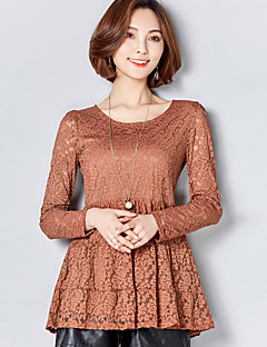 Women's Dailywear Wedding Party Date Sexy Cute Spring Summer Fall T-shirt,Solid Color Round Neck Long Sleeve Lace Medium
