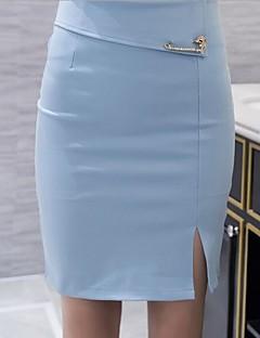 Damer I-byen-tøj Afslappet/Hverdag Over Knæet Nederdele Højtaljede BodyconEnsfarvet Fjeder Efterår