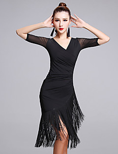 Latin Dance Dresses Women's Performance Milk Fiber Tassel(s) 1 Piece Half Sleeve Natural Dress