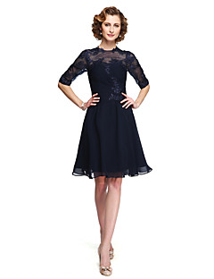 A-line Mother of the Bride Dress - Elegant Knee-length Half Sleeve Chiffon Lace with Appliques Pleats