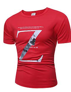 Bomull Polyester Tynn Kortermet,Rund hals T-skjorte Trykt mønster Sommer Aktiv Punk & Gotisk Fritid/hverdag Arbeid Sport Herre