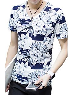 メンズ お出かけ プラスサイズ 夏 Tシャツ,シンプル Vネック フラワー プリント コットン モーダル ポリエステル 半袖 ミディアム