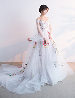Formal Evening Dress Ball Gown Spaghetti Straps Chapel Train Tulle with Appliques