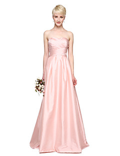LAN TING BRIDE עד הריצפה מחשוף לב שמלה לשושבינה - אלגנטי ללא שרוולים טפטה