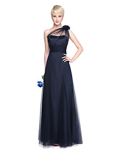 LAN TING BRIDE Floor-length One Shoulder Bridesmaid Dress - See Through Sleeveless Tulle