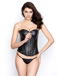 Leatherette With Plastic Boning Corset Shapewear Sexy Lingerie Shaper