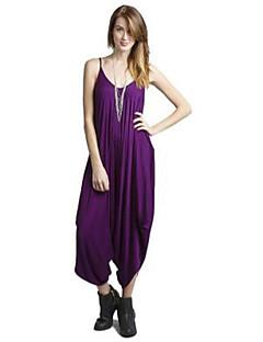 Femme Vintage simple Sortie Plage Combinaison-pantalon,Ample Ouvert Couleur Pleine Printemps Eté