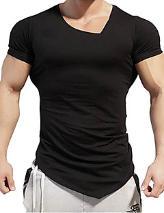 Men's Sports Casual/Daily Simple T-shirt,Print Round Neck Short Sleeve Cotton