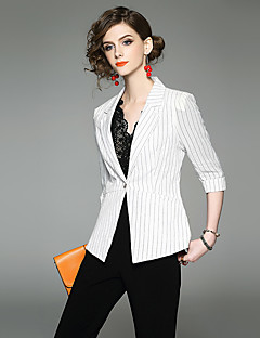 Для женщин Офис Весна Блейзер Рубашечный воротник,Изысканный Полоски Обычная Рукав ¾,Полиэстер