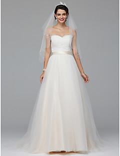 A-라인 웨딩 드레스 코트 트레인 스윗하트 튤 와 아플리케