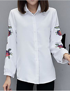 Women's Casual/Daily Simple Cute All Seasons Shirt,Solid Striped Embroidered Shirt Collar Long Sleeve Polyester Medium