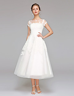 LAN TING BRIDE A-line Wedding Dress - Reception Simply Sublime Tea-length Bateau Lace Tulle with