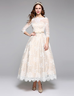 LAN TING BRIDE A-line Wedding Dress Simply Sublime Ankle-length Bateau Lace Satin with Lace Sash / Ribbon