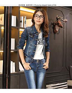 Damen Druck Einfach Lässig/Alltäglich Jeansjacke,Steigendes Revers Herbst Langarm Standard Baumwolle