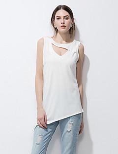 Uden ærmer V-hals Tynd Damer Ensfarvet Sommer Simpel Gade I-byen-tøj Strand Ferie T-shirt,Bomuld