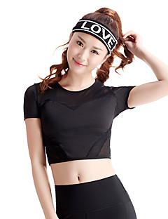 Dame T-skjorte til jogging Kortermet Fort Tørring Pustende Bekvem Topper til Trening & Fitness Løp Polyester Elastan Mesh Tynn Hvit Svart