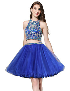 Ball Gown Halter Knee Length Tulle Cocktail Party Dress with Beading