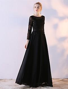 Kjole kjole mor til bruden kjole gulvlange langermet blonder sateng chiffon med blonder