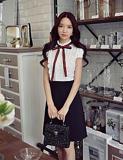 Kadın Dışarı Çıkma Günlük/Sade Çalışma Sade Sokak Şıklığı Sofistike Kombinezon Kılıf Siyah ve Beyaz Elbise Zıt Renkli,Kısa Kollu Dik Yaka