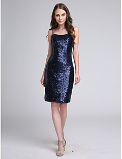LAN TING BRIDE Knee-length Spaghetti Straps Bridesmaid Dress - Sparkle & Shine Sleeveless Sequined