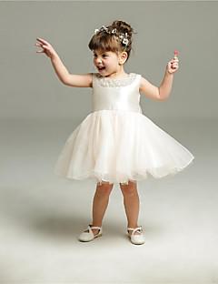 שמלת נשף קצר / מיני פרח ילדה שמלה - אורגנזה שרוולים תכשיט צוואר עם חרוזים ידי ydn