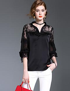 Damen Solide Einfach Niedlich Street Schick Lässig/Alltäglich Formal Ausgehen Hemd,V-Ausschnitt Frühling Herbst Langarm Polyester Mittel