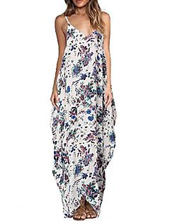 여성 루즈핏 드레스 심플 플로럴,크루넥 맥시 민소매 폴리에스테르 여름 중간 밑위 약간의 신축성 중간