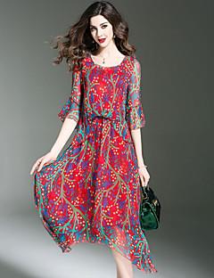 Feminino balanço Vestido,Para Noite Praia Tamanhos Grandes Moda de Rua Estampado Decote Redondo Assimétrico Meia Manga SedaPrimavera
