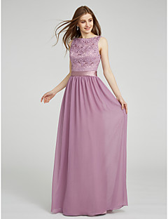 Sheath / Column Bateau Neck Floor Length Chiffon Lace Bridesmaid Dress with Lace Sash / Ribbon by LAN TING BRIDE®