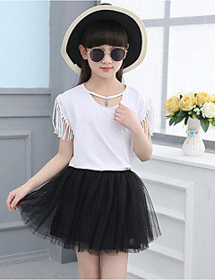 Girls' Casual/Daily Solid Sets,Cotton Summer Sleeveless Clothing Set