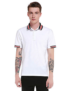 Men's Going out Casual/Daily Party Vintage Simple Street chic Spring Summer T-shirt,Solid Striped Square Neck Short Sleeve Polyester Thin