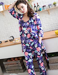 Padrão floral 3pcs ajustável conjunto de pijamas suaves