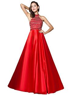 Vestito convenzionale da sera del vestito da sera della spazzata del halter dell'abito / raso del treno della spazzola con bordare