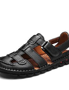 Bărbați Sandale Primăvară Vară Gladiator Tălpi cu Lumini Piele Outdoor Casual Toc Plat Bandă Magică Negru Maro Închis Plimbare