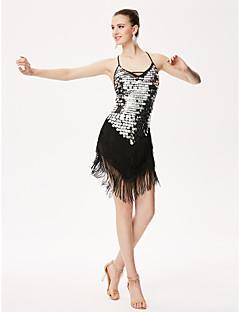 Devemos latin dança leotards mulheres desempenho chinlon sequins lantejoulas borla (s) 1 peça de leotardo de alta