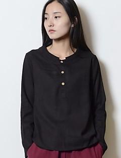 Dames Eenvoudig T-shirt,Casual/Dagelijks Effen Ronde hals Korte mouw Katoen