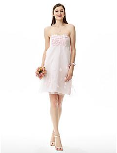 LAN TING BRIDE באורך  הברך סטרפלס שמלה לשושבינה  ללא שרוולים סאטן טול