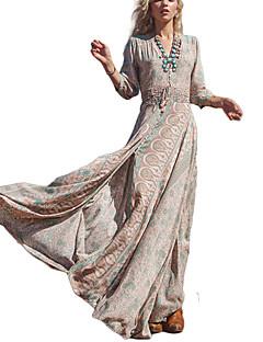여성 칼집 스윙 드레스 비치 휴일 빈티지 스트리트 쉬크 프린트,V 넥 맥시 긴 소매 폴리에스테르 여름 높은 밑위 약간의 신축성 얇음