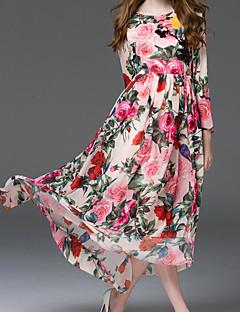 Γυναικείο Εξόδου Swing Φόρεμα,Φλοράλ Μακρυμάνικο Στρογγυλή Λαιμόκοψη Μακρύ Μετάξι Πολυεστέρας Άνοιξη Ψηλοκάβαλο Ανελαστικό Λεπτό