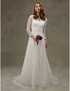 LAN TING BRIDE A-line Wedding Dress - Elegant & Luxurious Beautiful Back Court Train Jewel Lace with Appliques Button Sash / Ribbon