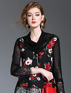 Langærmet Rund hals Medium Damer Trykt mønster Sødt I-byen-tøj Afslappet/Hverdag Skjorte,Polyester