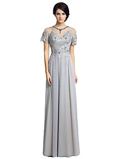 Sheath / Column Mother of the Bride Dress Floor-length Short Sleeve Chiffon with Beading Embroidery