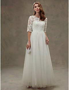 A-line Wedding Dress See-Through Floor-length Jewel Lace Tulle with Beading Lace Sash / Ribbon