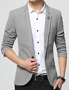 Erkek Pamuk Akrilik V Yaka Bahar Sonbahar Solid Sade Günlük/Sade Çalışma Normal-Erkek Blazer