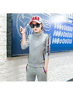 Dame T-skjorte og joggebukse Langermet Bekvem Joggedress T-skjorte med joggebukse til Trening & Fitness Løp Bomull Tynn Hvit Svart GråM L