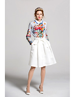 Dames Schattig Lente Zomer Overhemd,Uitgaan Casual/Dagelijks Print Overhemdkraag Lange mouw Polyester