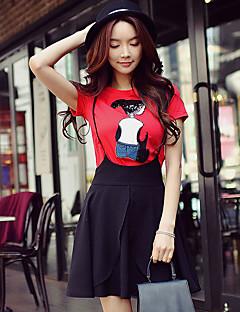Mujer Bonito Chic de Calle Sofisticado Noche Casual/Diario Vacaciones Verano Camiseta,Escote Redondo Bloques Retazos Manga CortaAlgodón